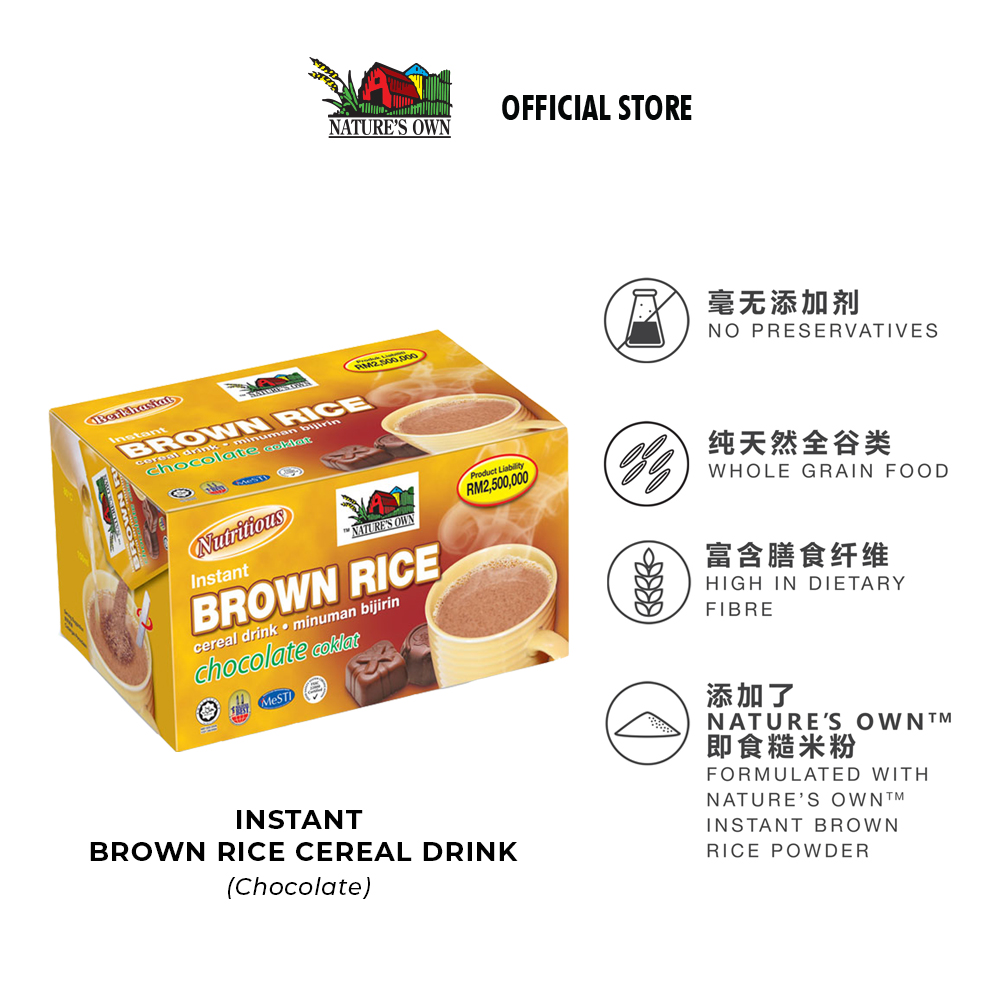 nature's own instant brown rice cereal drink - chocolate