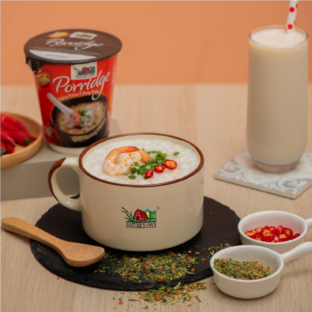 nature's own instant porridge cup - spicy shrimp